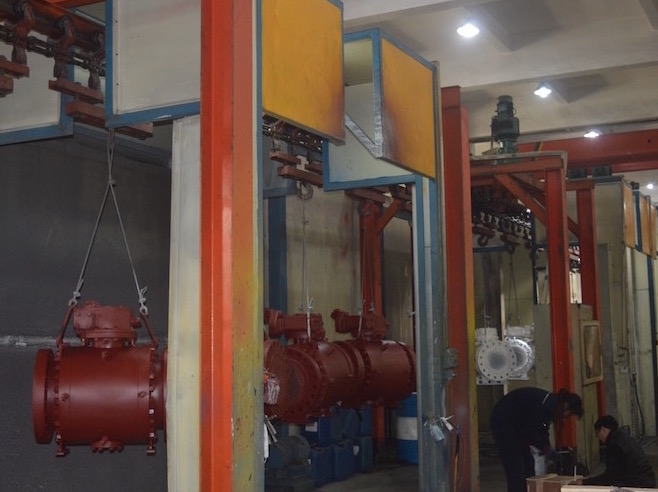 trunnion mounted ball valve painting line